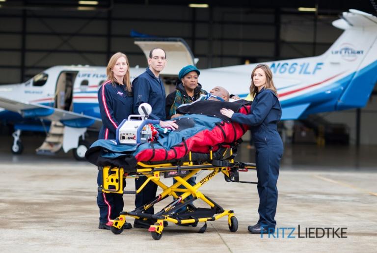 Photo of patient with LifeFlight crew