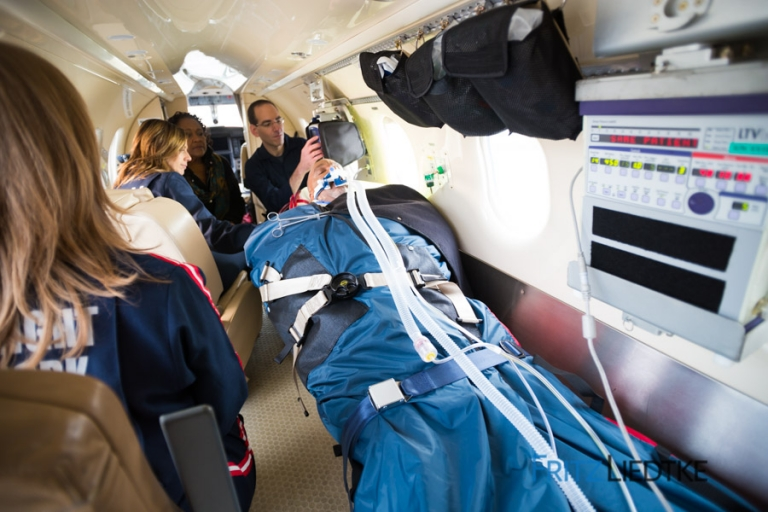 Photograph of patient in LifeFlight airplane
